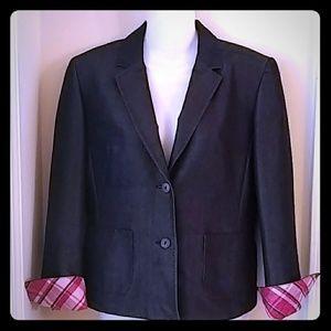 Blazer with cuffed plaid sleeves